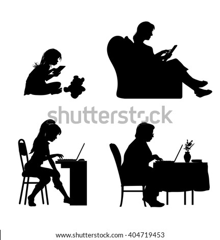 Silhouettes of four different ages female characters working on the computer - stock vector