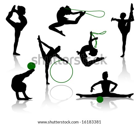 Silhouettes of gymnasts with various sports subjects. A ball, a skipping rope, a hoop - stock vector