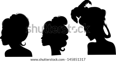 Silhouettes of hairstyles of the 19th century - stock vector