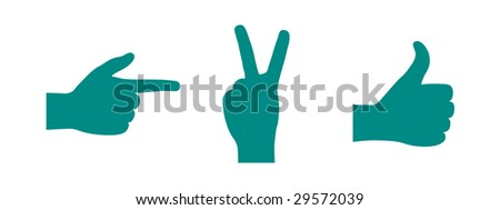 Silhouettes of Hands - Pointing, Victory Signal, OK Signal - stock vector