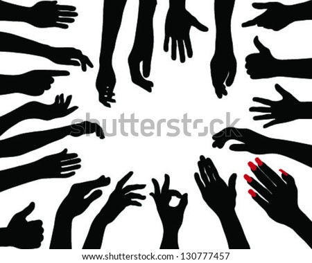 Silhouettes of hands 5. vector - stock vector