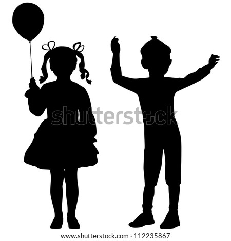 Silhouettes of happy kids - girl and boy - stock vector