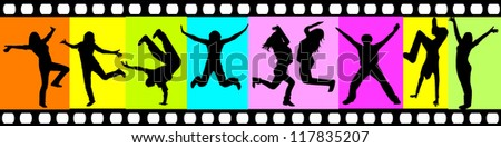 silhouettes of happy people - stock vector