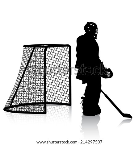 Silhouettes of hockey player. Isolated on white. illustrations. - stock vector