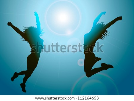Silhouettes of jumping girls - stock vector