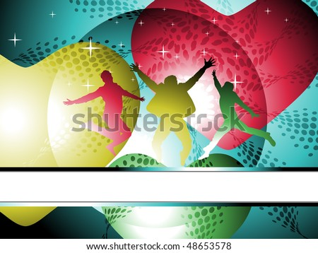 silhouettes of jumping happy man and dancing with halftone retro style.vector illustration, no flattened transparencies. - stock vector