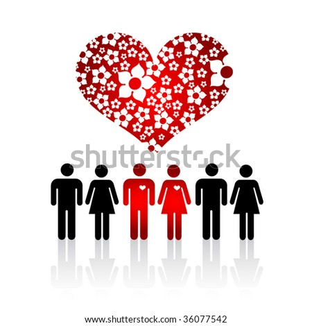 Silhouettes of Lovers Pair in crowd of people and Floral Heart - stock vector