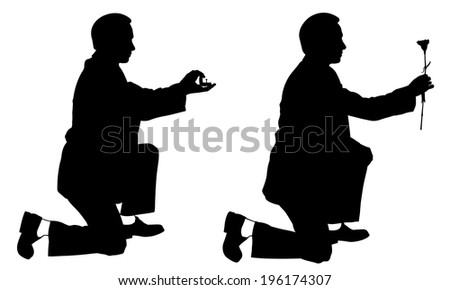 silhouettes of men proposing - stock vector