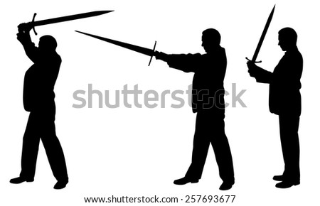 silhouettes of men with swords - stock vector