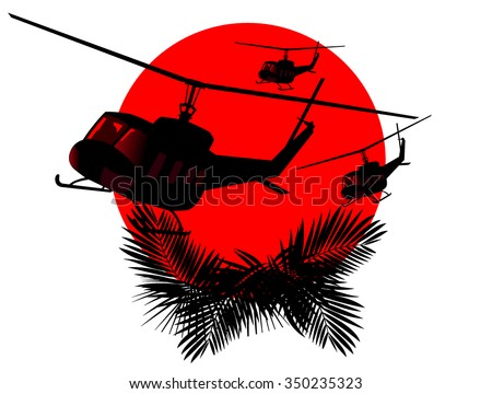 silhouettes of military helicopters on a background of red sun. abstract vector illustration - stock vector