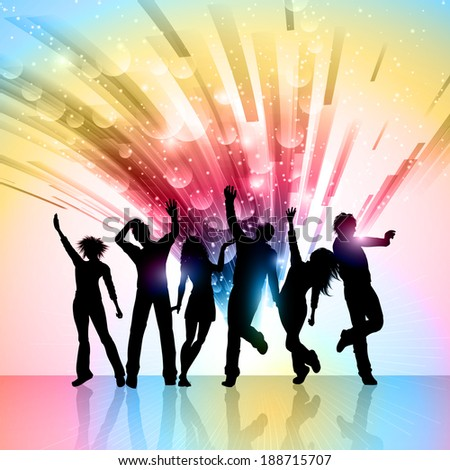 Silhouettes of party people on a colorful abstract background - stock vector