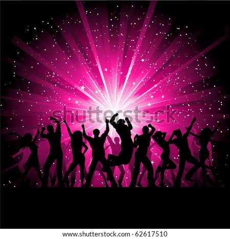Silhouettes of people dancing on a pink starburst background - stock vector