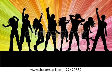 Silhouettes of people dancing on a starburst background - stock vector