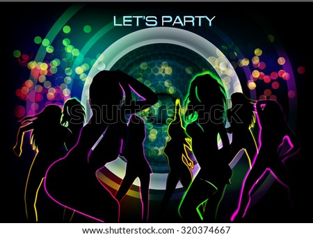 Silhouettes of people dancing on an abstract background - stock vector