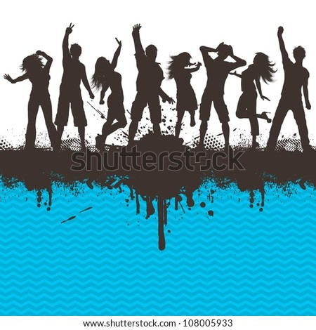 Silhouettes of people dancing on grunge background - stock vector