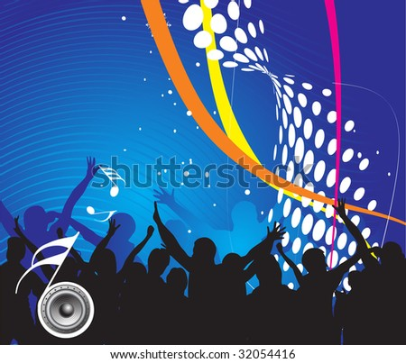 silhouettes of people dancing with music speaker background - stock vector