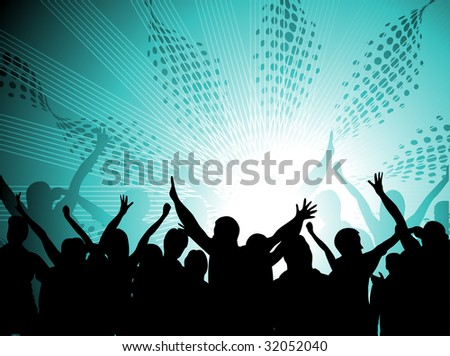 silhouettes of people dancing with people blasted by music - stock vector