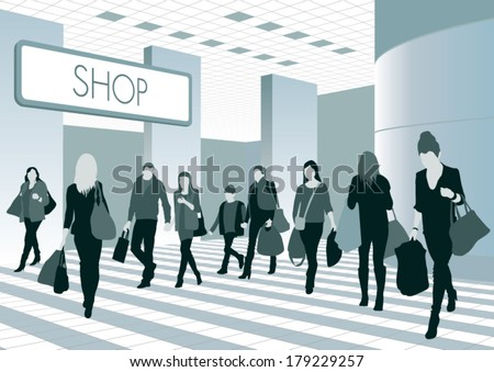 Silhouettes of people in shopping center. Vector illustration - stock vector