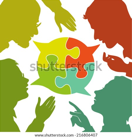 silhouettes of people leading dialogues with colorful speech bubbles. Speech bubbles in the form of puzzles. Dialogue and consensus.  - stock vector