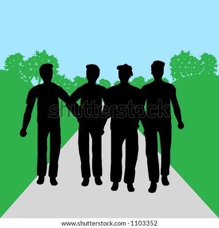 Silhouettes of people - men - stock vector