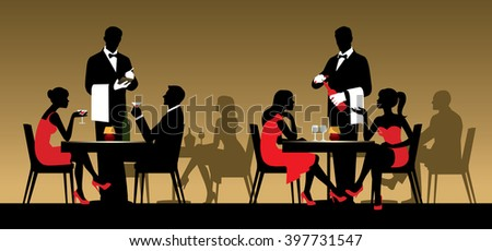 Silhouettes of people sitting at tables in a restaurant or night club Stock vector illustration - stock vector