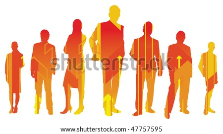 silhouettes of people with arrows - stock vector