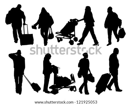 silhouettes of people with baggage - stock vector