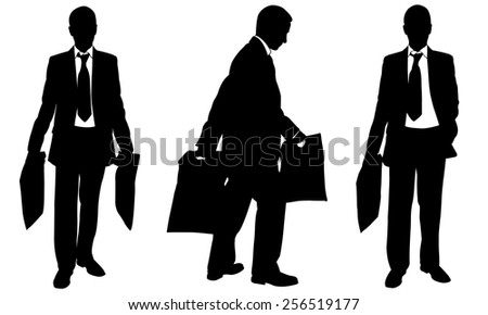 silhouettes of people with bags - stock vector