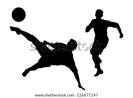 silhouettes of players in soccer - stock vector