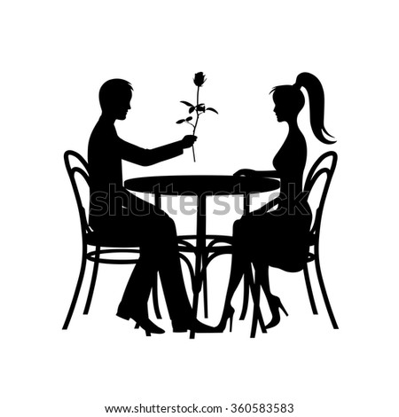 silhouettes of romantic couple in love meeting - stock vector