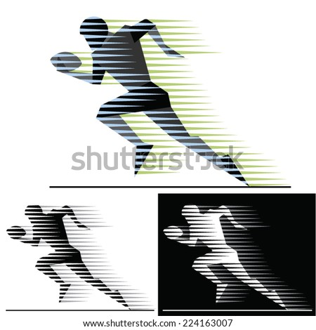 Silhouettes of running american football players with  motion trails  - geometric style. - stock vector