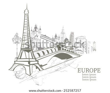 Silhouettes of sights in Europe - stock vector
