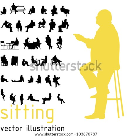 Silhouettes of sitting people. - stock vector
