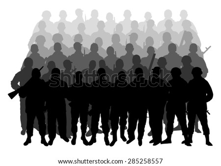 Silhouettes of soldiers in the ranks - stock vector
