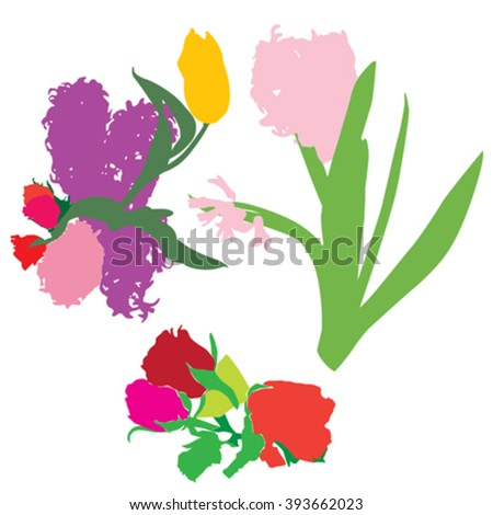 Silhouettes of spring flowers bouquets, objects isolated on white - stock vector