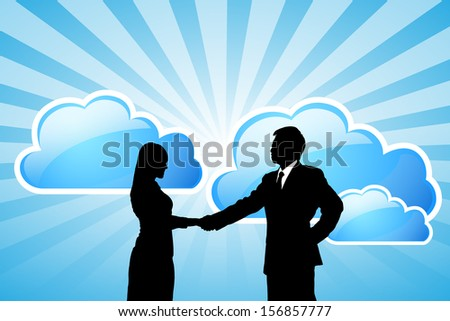 Silhouettes of success Business team with cloud computing technology - stock vector