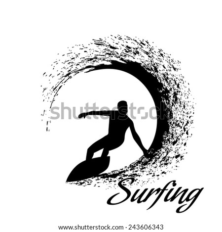 silhouettes of surfers - stock vector