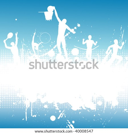 Silhouettes of the athletes on abstract background. - stock vector