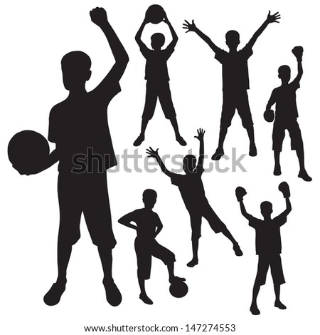 silhouettes of the boy with a ball and boxing gloves - stock vector