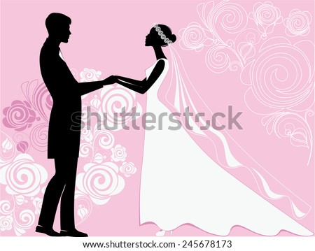 silhouettes of the bride and groom at a wedding ceremony on a pink background - stock vector