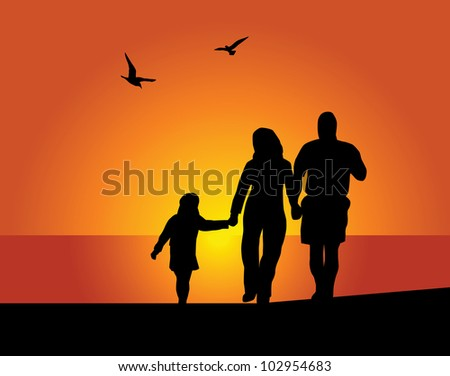 Silhouettes of the parents and children on a background of the evening sky - stock vector