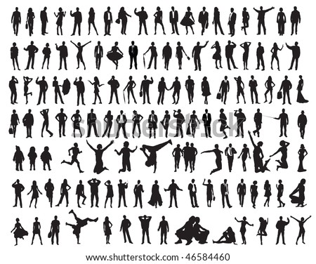 Silhouettes of the people. Vector illustration - stock vector