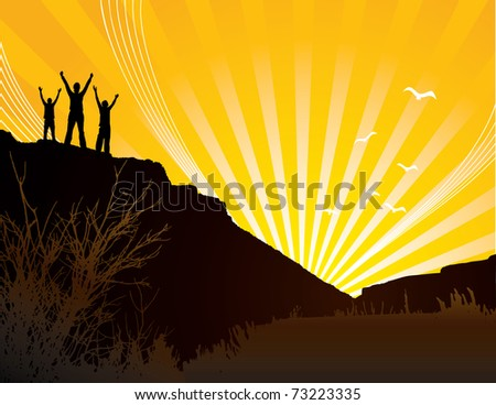 Silhouettes of three people on hill at sunrise. - stock vector