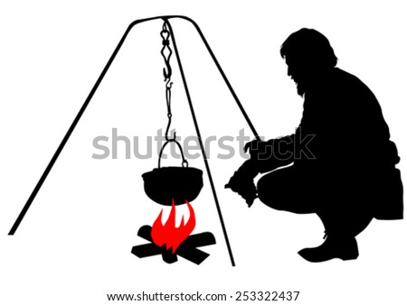 Silhouettes of tourist around the campfire on a white background - stock vector