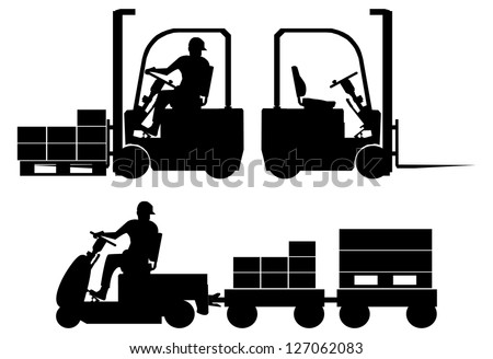 Silhouettes of tow tractor and forklift with operator - stock vector