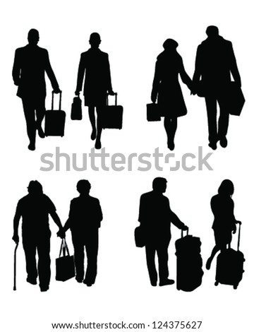 Silhouettes of travelers with suitcases - stock vector