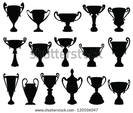 Silhouettes of trophies 3-vector - stock vector