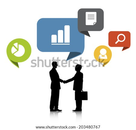 Silhouettes of Two Businessmen Shaking Hands and Work Symbols - stock vector