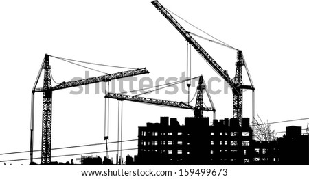 Silhouettes of two cranes near of building - stock vector