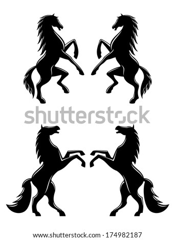 Silhouettes of two pairs of prancing rearing horses logo with flowing manes and tails in profile, black and white vector illustration - stock vector